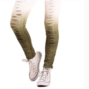 Pants - NEW Distressed White & Olive Ripped Jean Leggings
